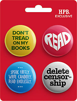 Banned Books Awareness Button 4-Pack Express your freedom to READ!