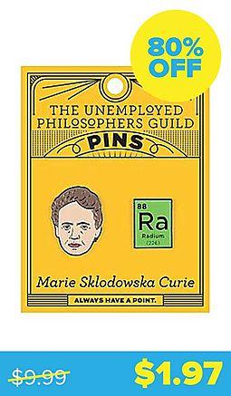 Glowing Marie Sklodowska Curie Enamel Pins