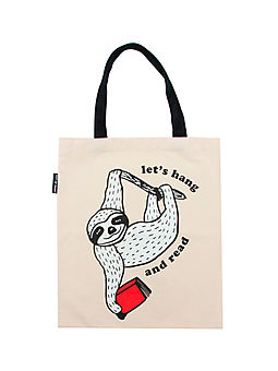 Let's Hang And Read Book Sloth Tote Bag